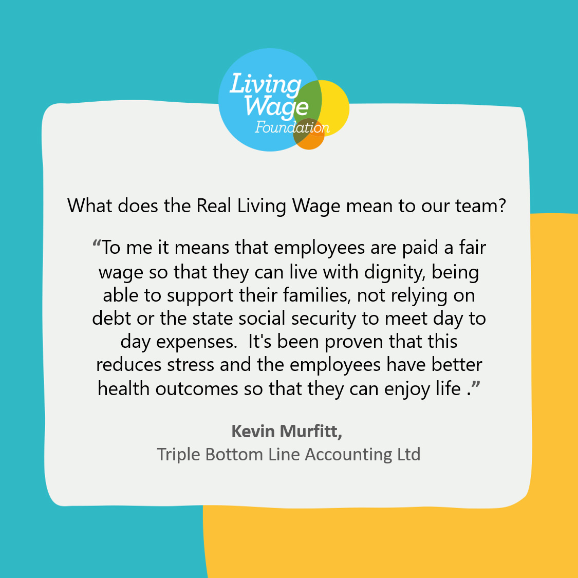what living wage means to Kevin